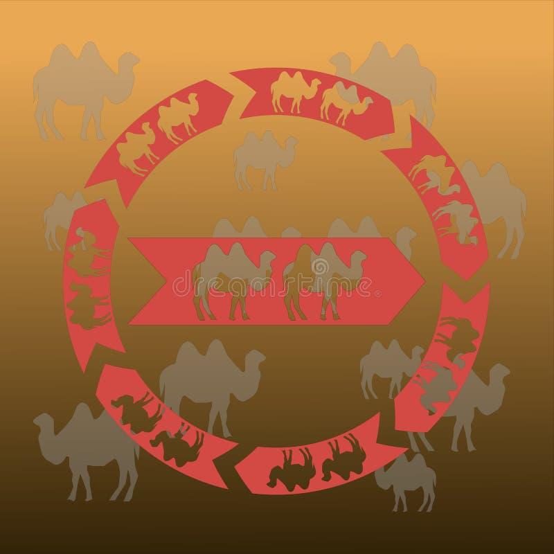 Kamelen als pijlteken op een gouden zonsondergangachtergrond vector illustratie