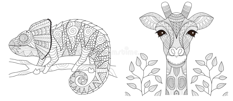 Kameleon i żyrafa ustawiający dla kolorystyki książki strony i innego drukowanego produktu również zwrócić corel ilustracji wekto royalty ilustracja