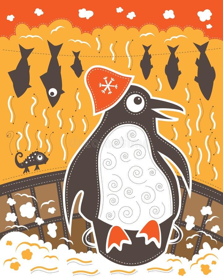 Kameleon i pingwin w sauna ilustracja wektor