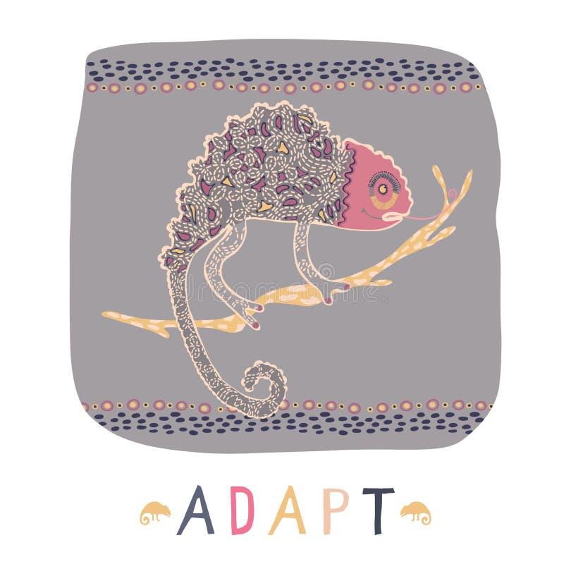 Kameleon jaszczurka na gałęziastym clipart elemencie Kolorowego gada wektorowa ilustracja z adaptuje tekst ilustracja wektor