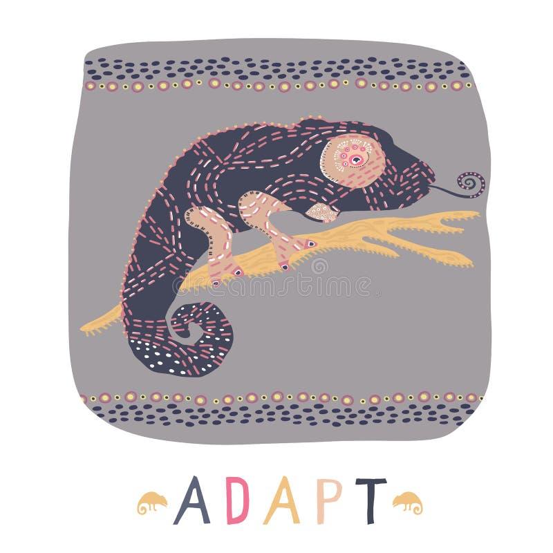 Kameleon jaszczurka na gałęziastym clipart elemencie Kolorowego gada wektorowa ilustracja z adaptuje tekst ilustracji