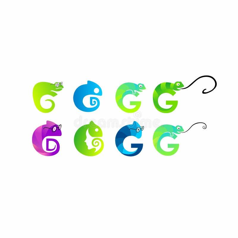 Kameleont ödla som är rolig, uppsättning för symbol för illustrationvektorlogo stock illustrationer
