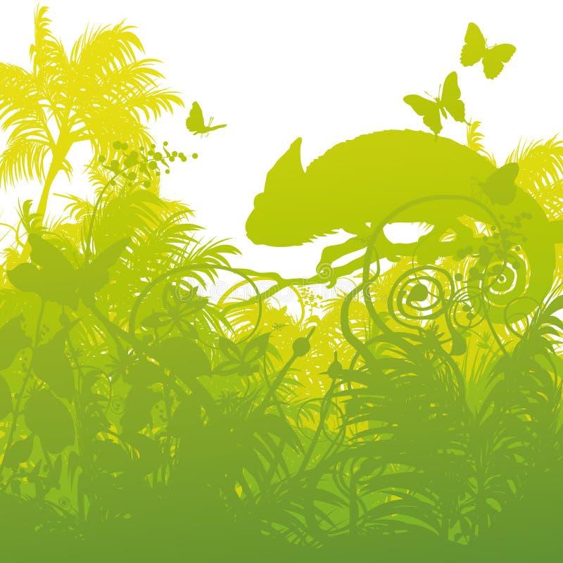 Kameleont i djungeln royaltyfri illustrationer