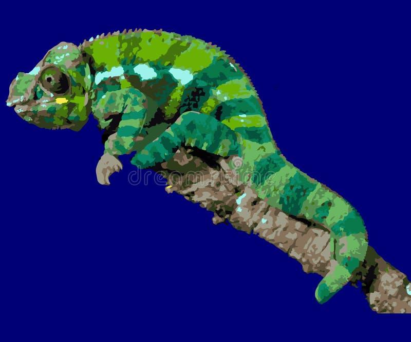 Kameleont på en filial royaltyfri illustrationer
