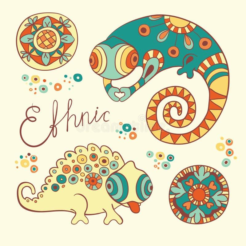 Kameleonter och blommor i etnisk stil vektor illustrationer