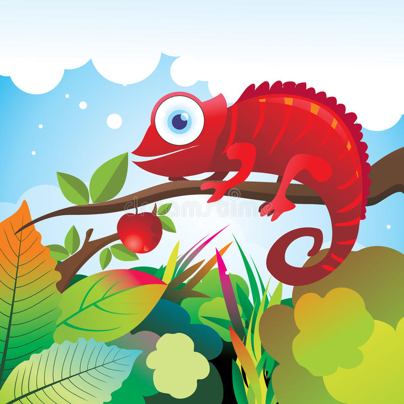 Kameleontillustration   vektor illustrationer