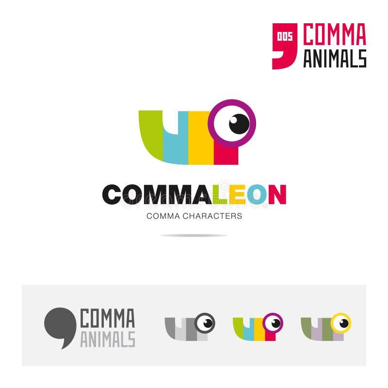 Kameleonu pojęcia ikony zwierzęcy set, nowożytny gatunek tożsamości loga szablon i app symbol opierający się na przecinku podpisu ilustracja wektor