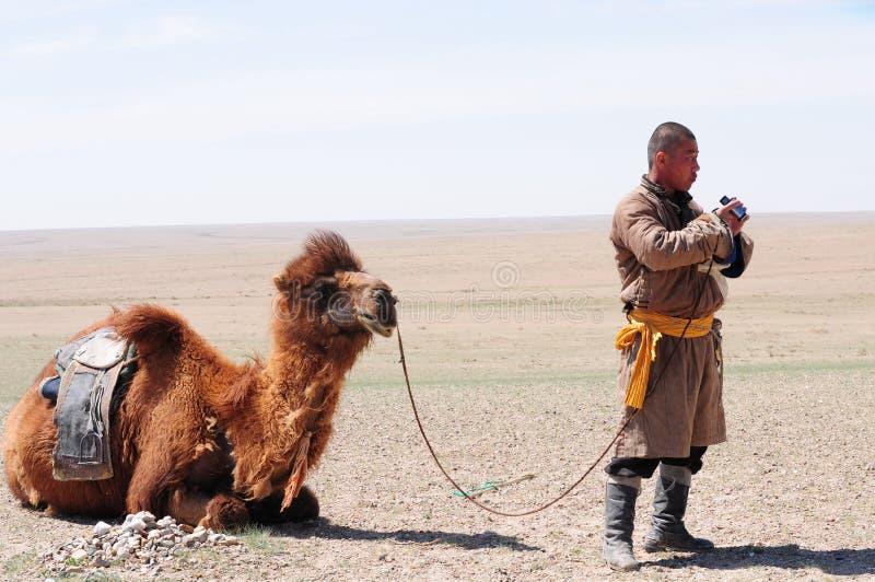 kamelherdsman hans nomad- mongolian arkivfoton