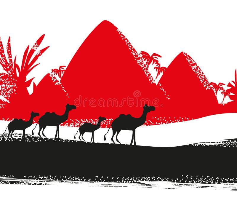 Kamelhusvagn i lösa africa royaltyfri illustrationer