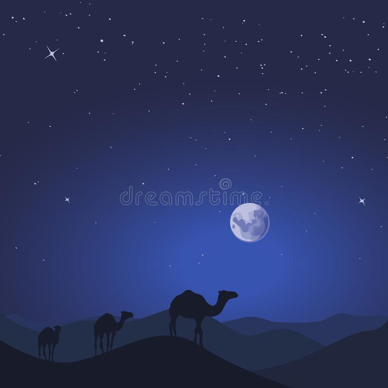 Kamelhusvagn i löst landskap för ökenbergnatur också vektor för coreldrawillustration stock illustrationer