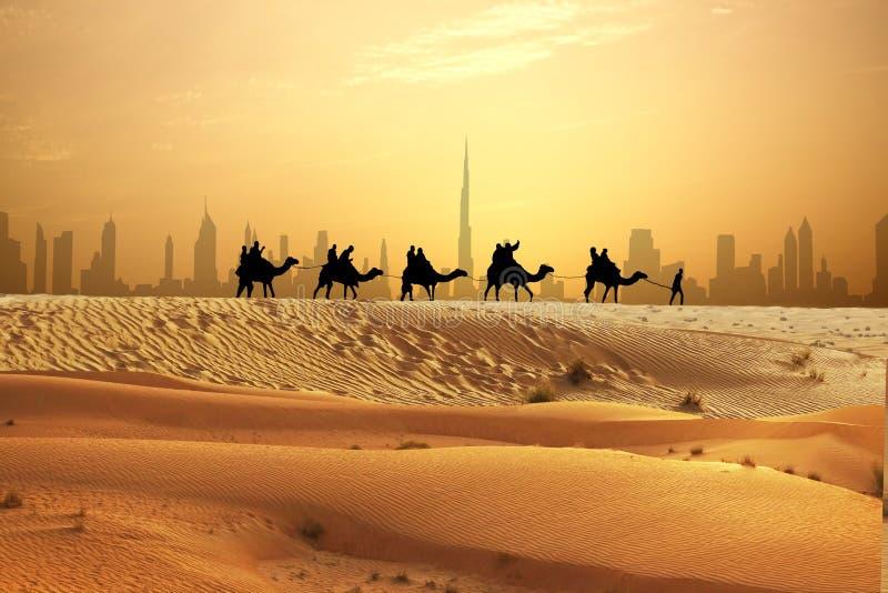 Kamelhusvagn på sanddyn på den arabiska efterrätten med Dubai horisont på solnedgången royaltyfri fotografi
