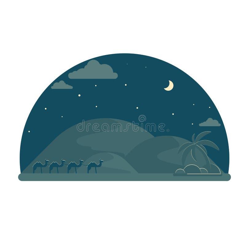 Kamelhusvagn som går till oasen på natt Ökendyn på horisont vektor illustrationer