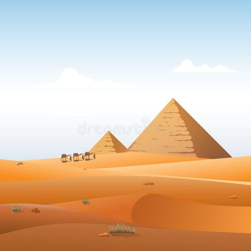Kamelhusvagnen i lösa Afrika pyramider landskap bakgrund vektor illustrationer
