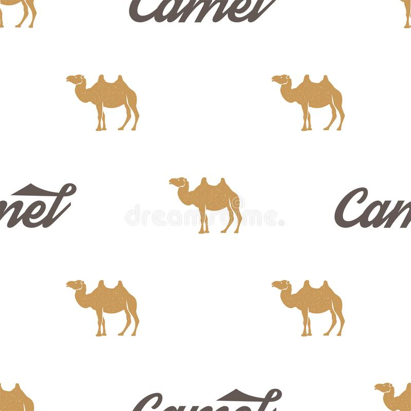 Kamelmodell Sömlös bakgrundsillustration med symboler för löst djur, beståndsdelar Monokrom konturdesign materiel vektor illustrationer