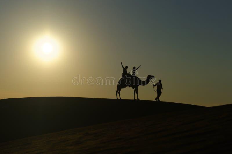 Kamelsafari i öknen royaltyfri foto