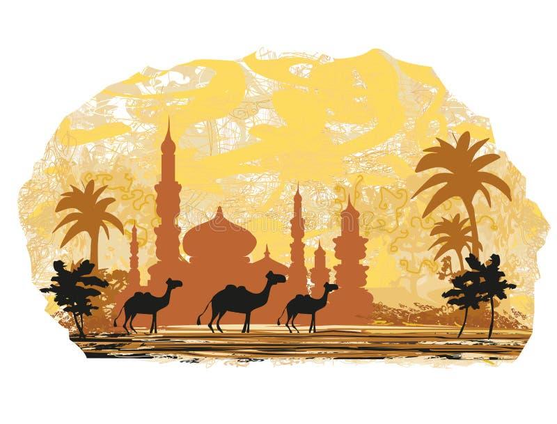 kameltur med moskébakgrund vektor illustrationer