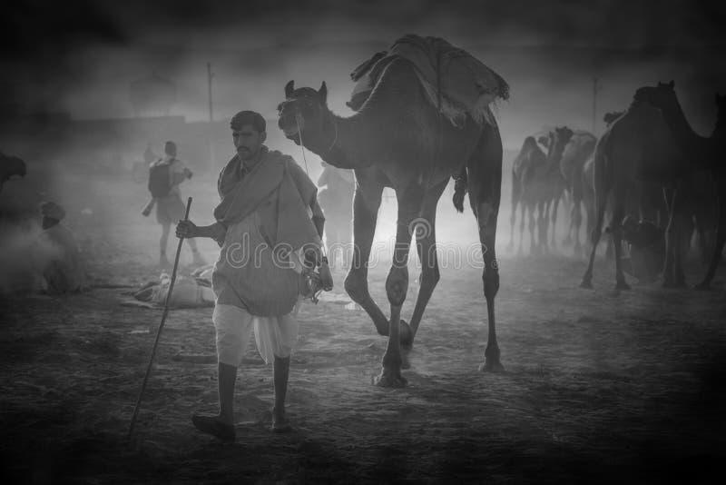Kamelverkäufer von der Stadt von Pushkar, Pushkar Mela lizenzfreies stockfoto