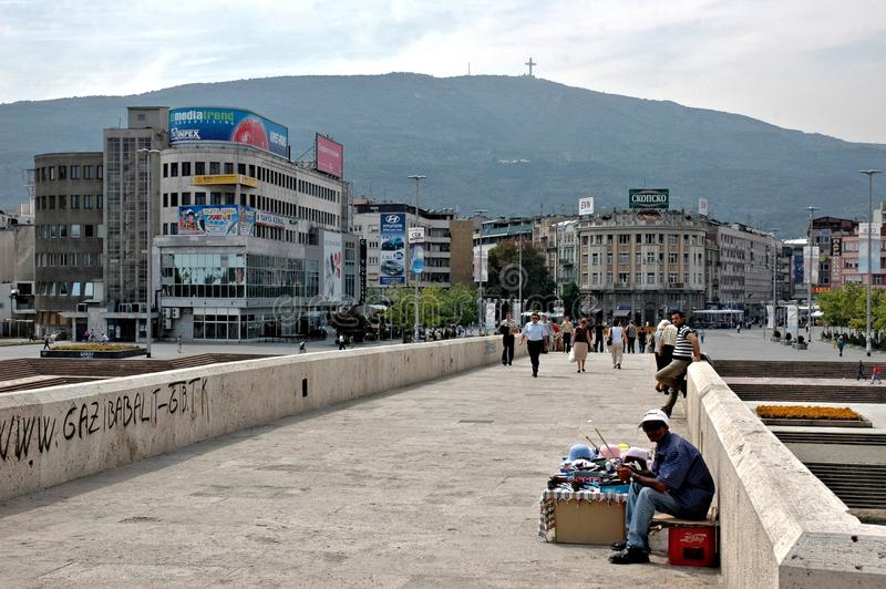 Kamen Most Bridge, Skopje, Macedonia. This stone bridge represents the connection between Skopjes past and present, and is featured in the Coat of arms of Skopje stock photography