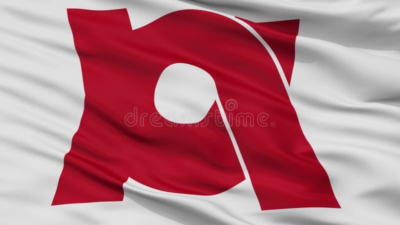 Kameoka-Stadt-Flagge, Japan, Kyoto-Präfektur, Nahaufnahme-Ansicht vektor abbildung