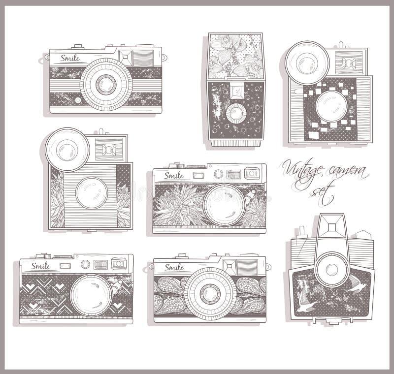 kamer fotografii retro set ilustracji