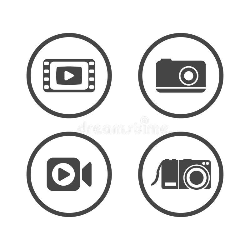 Kamer ikony ustawiać Wideo ikona również zwrócić corel ilustracji wektora ilustracji