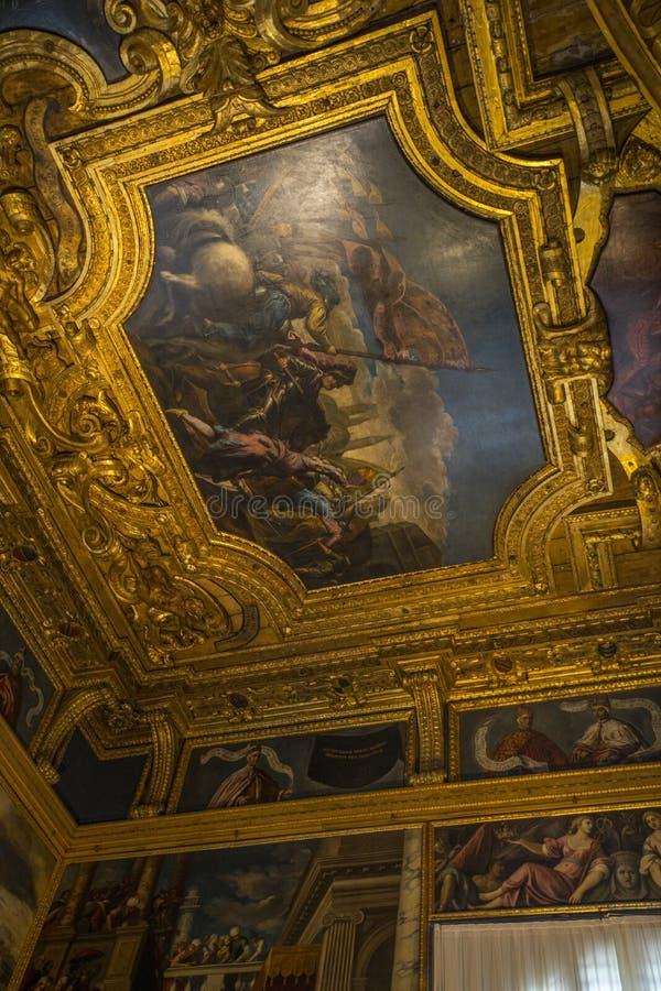 Kamer van de Grote Raad in het Doges Palace royalty-vrije stock afbeeldingen