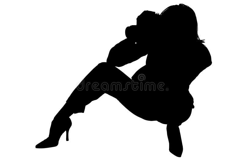 kamera ścinku ścieżki sylwetki kobieta ilustracja wektor