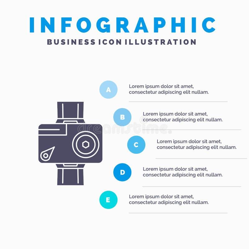 kamera, akcja, Infographics szablon dla strony internetowej i prezentacja, cyfrowy, wideo, fotografia, glif Szara ikona z B??kitn ilustracji