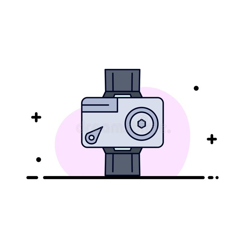 Kamera, Aktion, digital, Video, Foto flacher Farbikonen-Vektor stock abbildung
