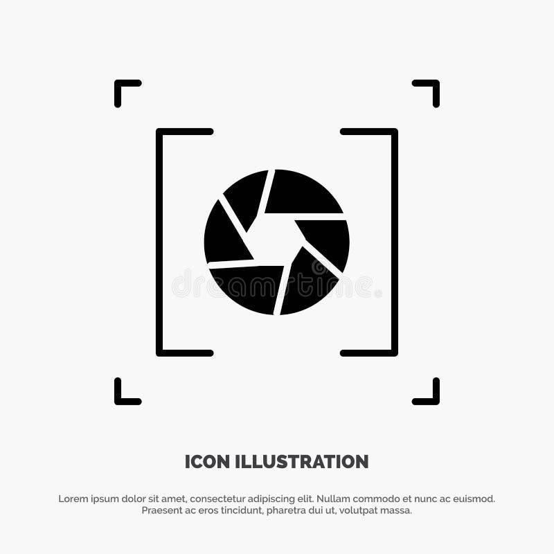 Kamera, apertura, obiektyw, fotografia glifu ikony stały wektor ilustracja wektor