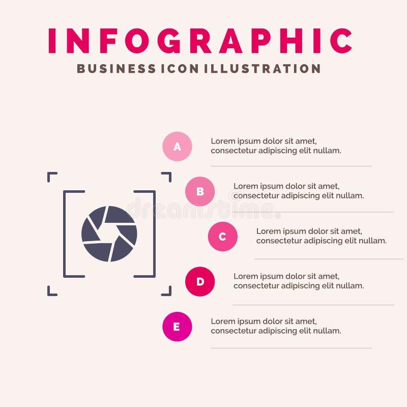 Kamera, apertura, obiektyw, fotografii ikony Infographics 5 kroków prezentacji Stały tło royalty ilustracja