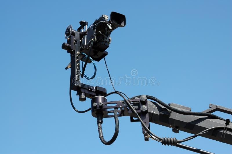 Kamera auf Kran oder Kranbalken stockfotografie