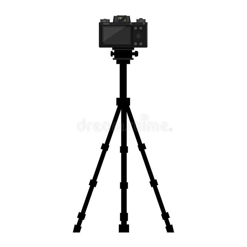 Kamera auf Stativ mit Seitenansicht auf der Rückseite Vector-Illustration stock abbildung