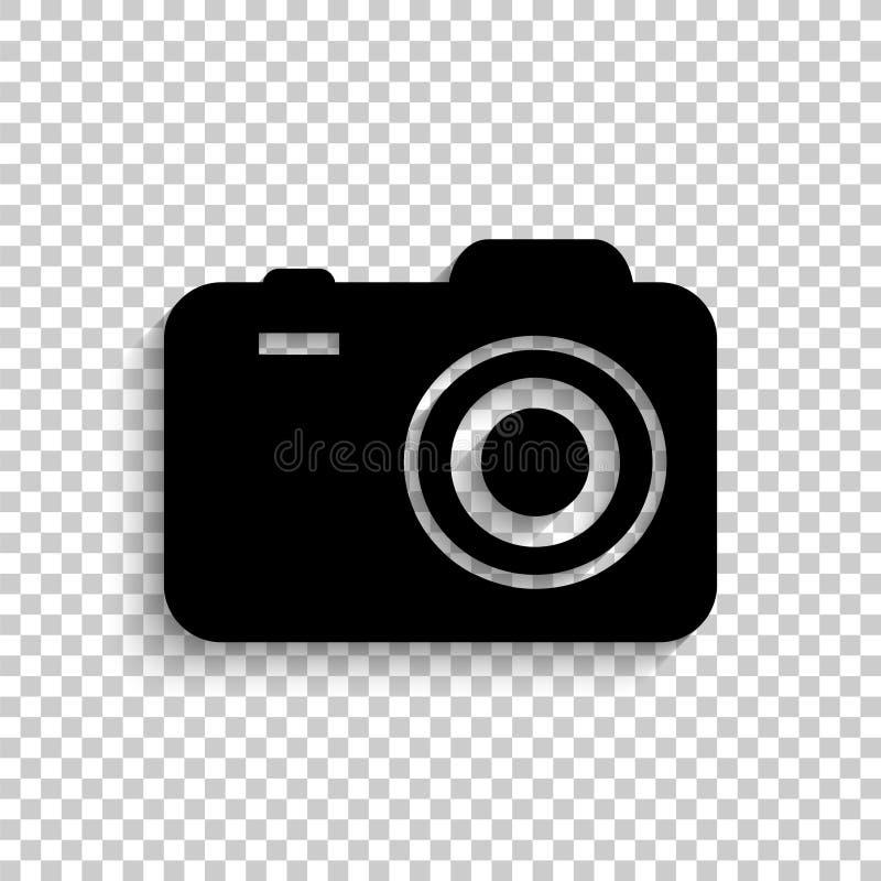 Kamera - czarna wektorowa ikona ilustracja wektor