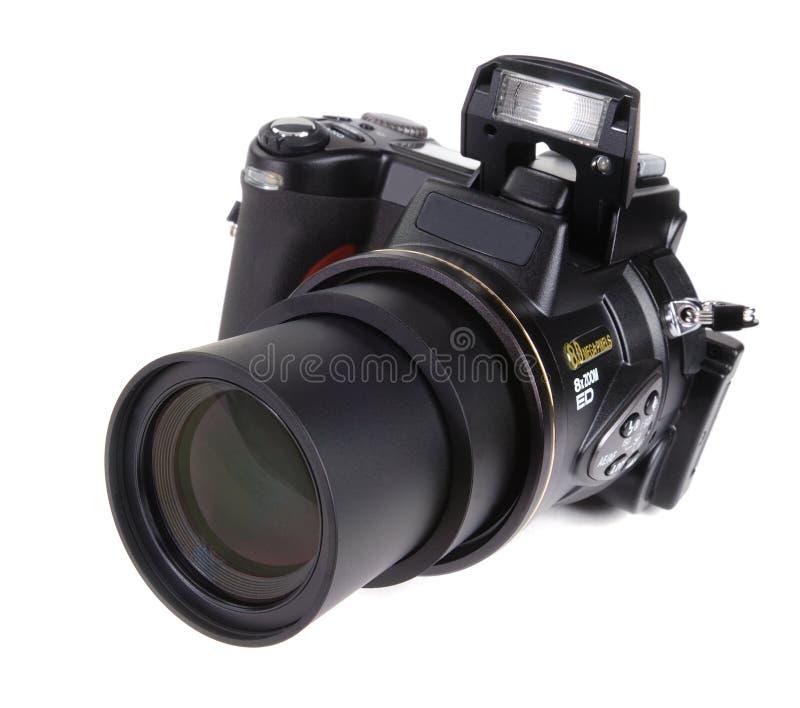 Kamera Digital-SLR mit angebrachtem Zoomobjektiv lizenzfreie stockfotografie