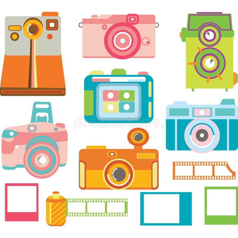 Kamera elementy, Kolorowa kamery kolekcja royalty ilustracja