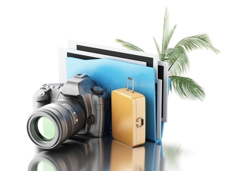 kamera för foto 3d med mappen, palmträdet och resväskan vektor illustrationer