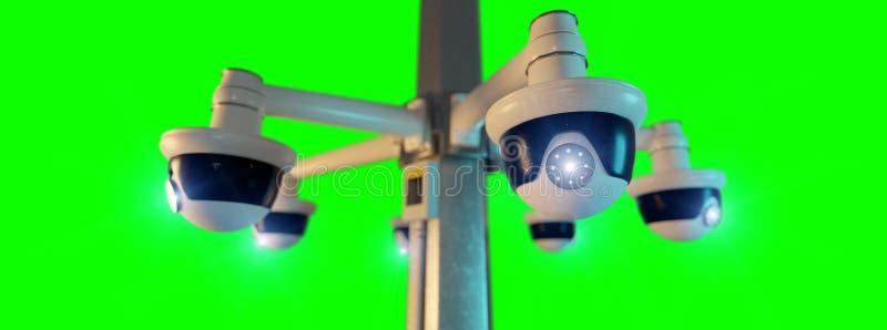 Kamera för gatasäkerhetscctv som isoleras på en grön skärm - tolkning 3d vektor illustrationer