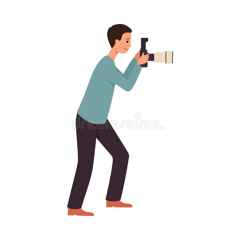 Kamera för innehav för ställning för man för sidosikt och ta fotobild plan tecknad filmstil royaltyfri illustrationer