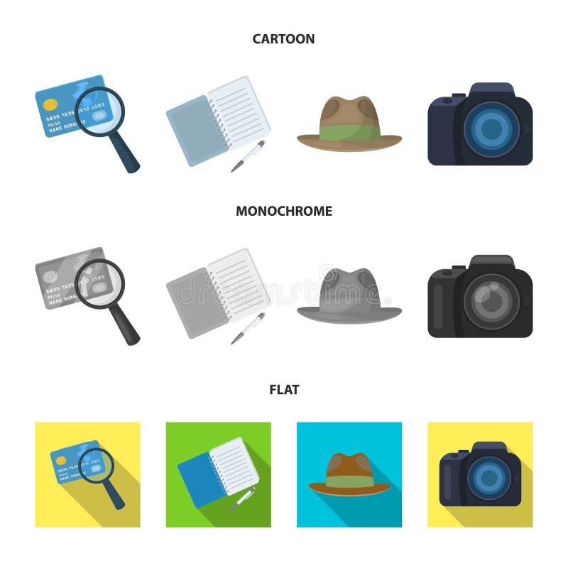Kamera förstoringsapparat, hatt, anteckningsbok med pennan Fastställda samlingssymboler för kriminalare i tecknade filmen, lägenh stock illustrationer