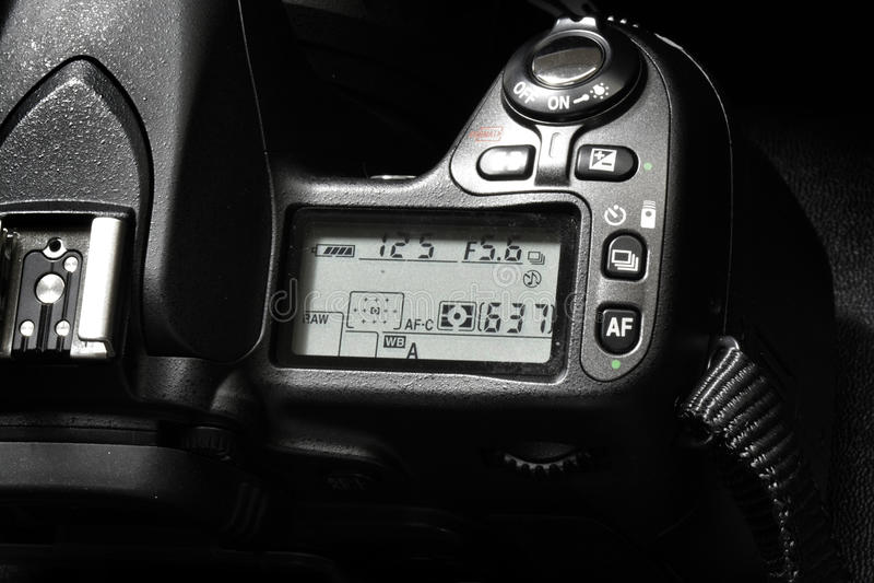 Kamera für Digitalfotografie-Kontrollen-Skala stockfotografie