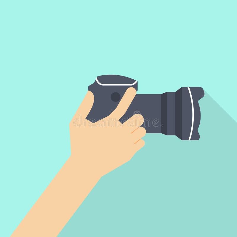 Kamera f?r handinnehavfoto stock illustrationer