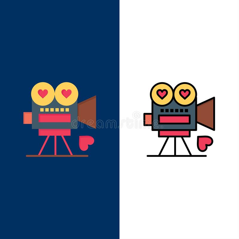 Kamera, Film, Videokamera, Liebe, Valentine Icons Ebene und Linie gefüllte Ikone stellten Vektor-blauen Hintergrund ein stock abbildung