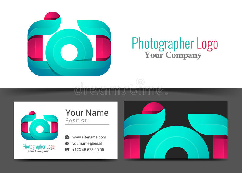 Kamera-Fotograf Studio Corporate Logo und Visitenkarte-Zeichen stock abbildung