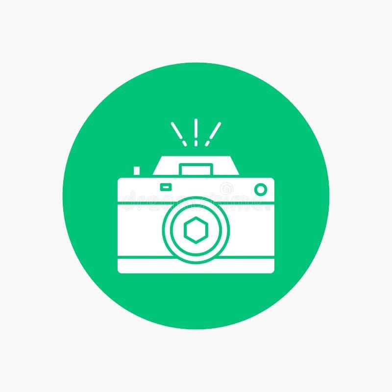 Kamera, fotografia, zdobycz, fotografia, apertura glifu Biała ikona w okręgu Wektorowa guzik ilustracja royalty ilustracja