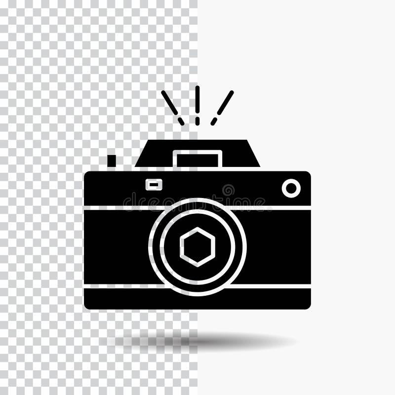 Kamera, fotografia, zdobycz, fotografia, apertura glifu ikona na Przejrzystym tle Czarna ikona royalty ilustracja