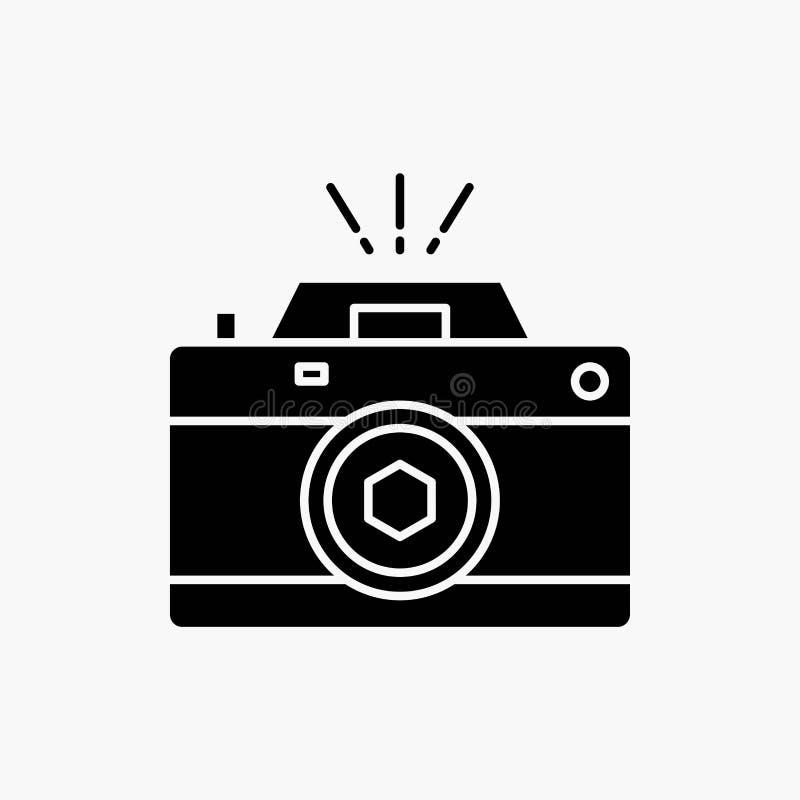 Kamera, fotografia, zdobycz, fotografia, apertura glifu ikona Wektor odosobniona ilustracja royalty ilustracja