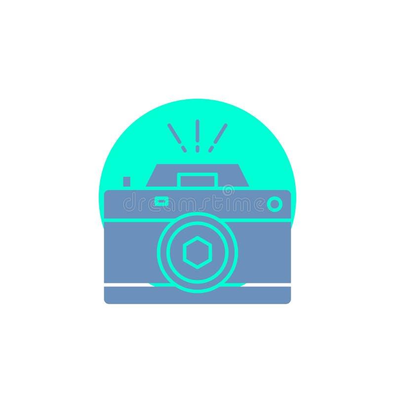 Kamera, fotografia, zdobycz, fotografia, apertura glifu ikona ilustracja wektor