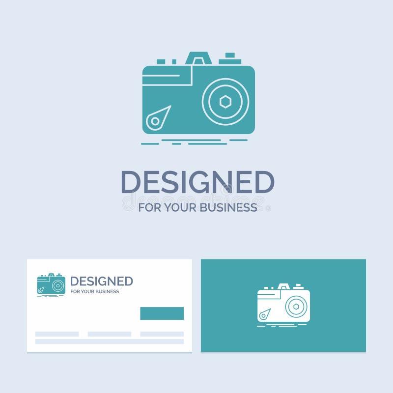 Kamera, fotografia, zdobycz, fotografia, apertura logo glifu ikony Biznesowy symbol dla tw?j biznesu Turkusowe wizyt?wki z ilustracja wektor