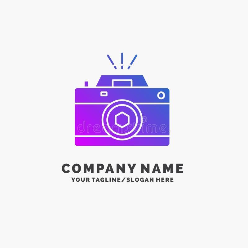 Kamera, fotografia, zdobycz, fotografia, apertura logo Purpurowy Biznesowy szablon Miejsce dla Tagline royalty ilustracja